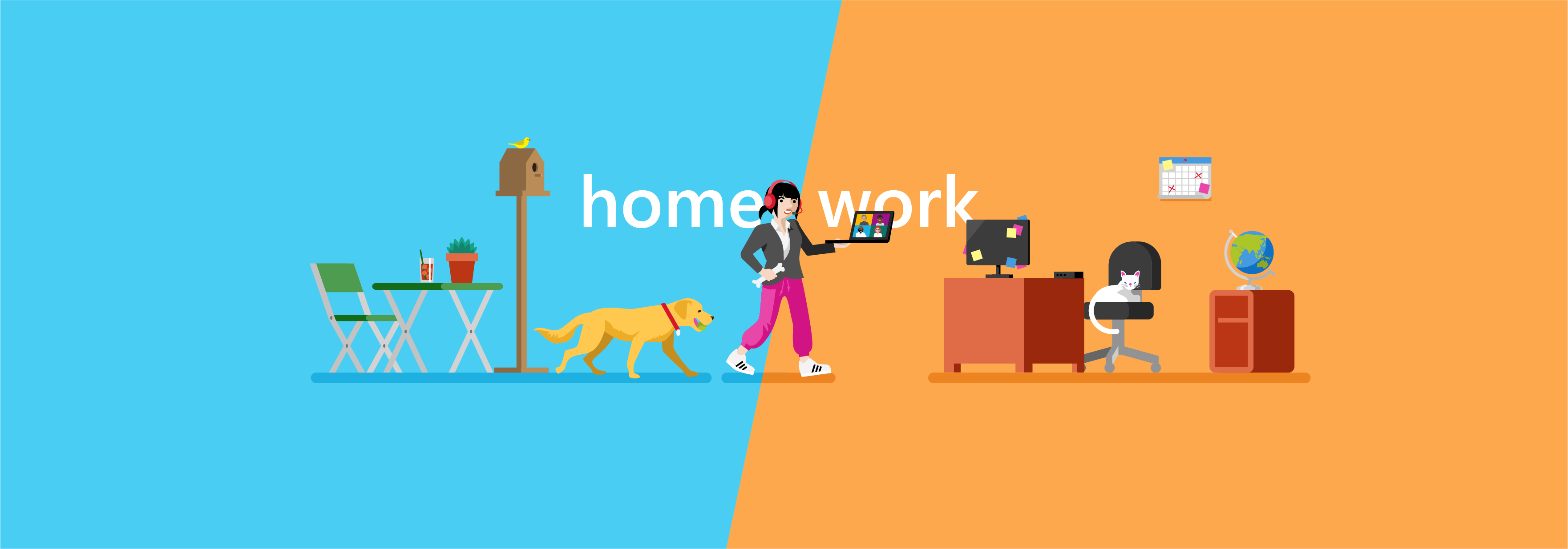 Illustration of a woman managing remote work with a dog, home office, and joining a Teams meeting on her computer